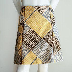 Maeve Velvet Patchwork Houndstooth Print Skirt